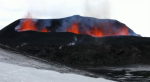 Eyjafjallajokull Volcano crater with fire