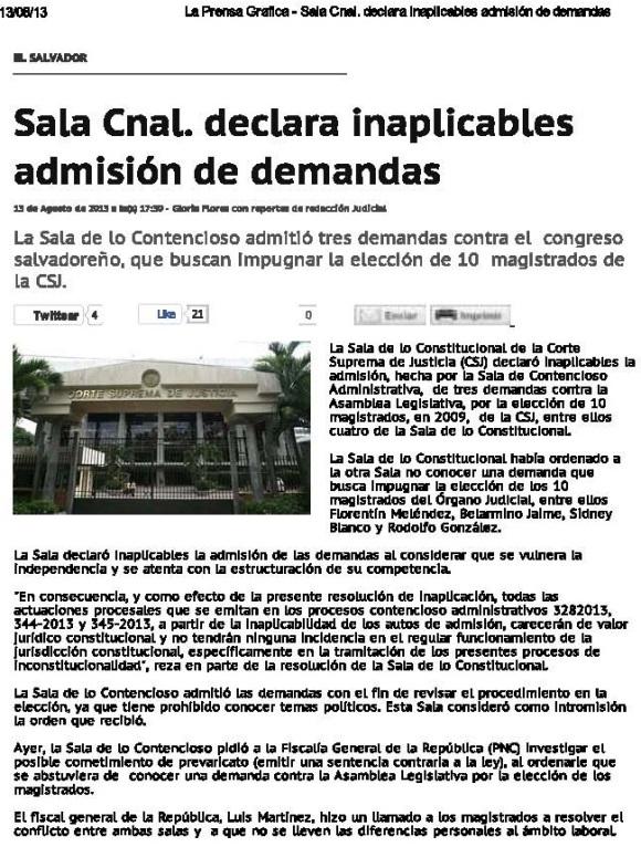 Sala Constitucional declara inaplicables admisión de demandas en su contra