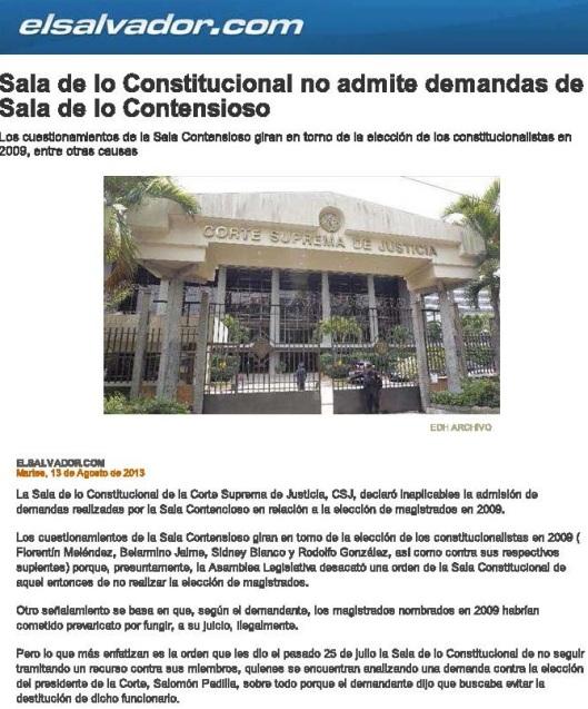 Sala de lo Constitucional no admite demandas de Sala de lo Contensioso